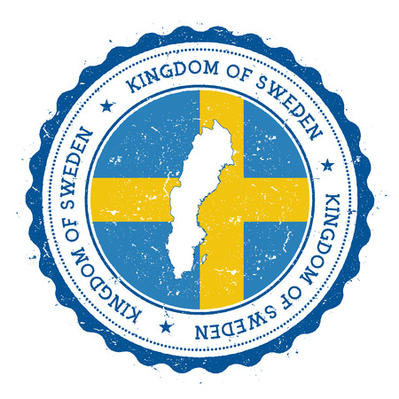 Sweden map and flag in vintage rubber stamp of state colours. Grungy travel stamp with map and flag of Sweden. Country map and flag vector illustration. Vettoriali