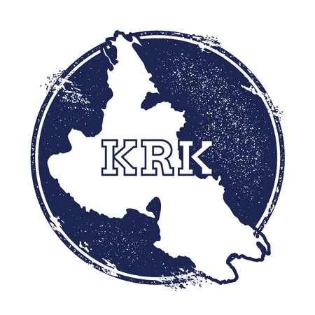 Krk vector map. Grunge rubber stamp with the name and map of island, vector illustration. Can be used as insignia, logotype, label, sticker or badge.