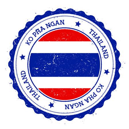 Ko Pha Ngan flag badge. Vintage travel stamp with circular text, stars and island flag inside it. Vector illustration.