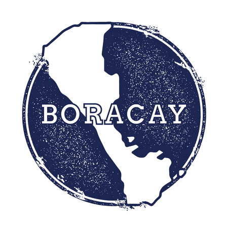 Boracay vector map. Grunge rubber stamp with the name and map of island, vector illustration. Can be used as insignia, logotype, label, sticker or badge. Illustration