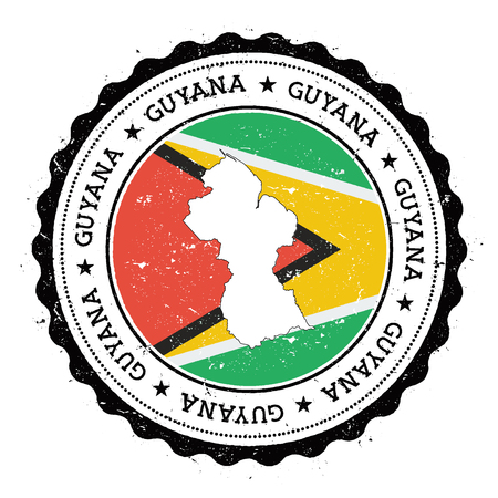 Guyana map and flag in vintage rubber stamp of state colours. Grungy travel stamp with map and flag of Guyana. Country map and flag vector illustration.