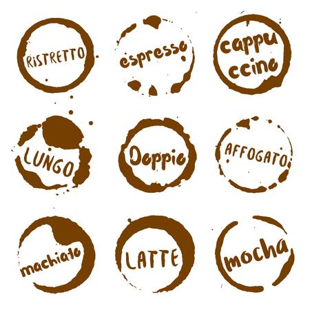 Italiaanse koffie collectie van ronde aquarel vlekken met ristretto, lungo, doppio, affogato, machiato, latte, mokka, espresso, cappuccino tekst. Verzameling van vector Italiaanse koffie stempels.