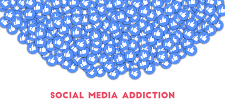 Social media addiction. Social media icons in abstract shape background with scattered thumbs up. Social media addiction concept in elegant vector illustration. Çizim