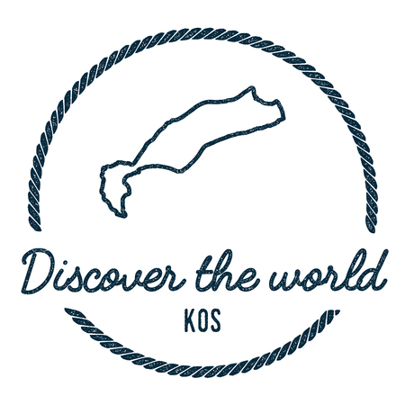 Kos Map Outline. Vintage Discover the World Rubber Stamp with Island Map. Hipster Style Nautical Insignia, with Round Rope Border. Travel Vector Illustration. Illustration