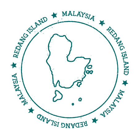Redang Island vector map. Distressed travel stamp with text wrapped around a circle and stars. Island sticker vector illustration.