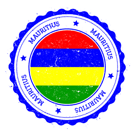 Mauritius flag badge. Vintage travel stamp with circular text, stars and island flag inside it. Vector illustration.