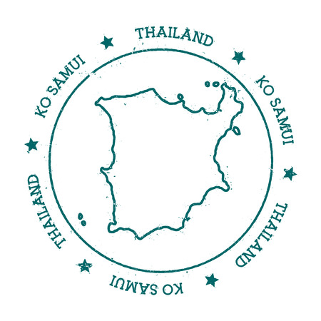 samui: Ko Samui vector map. Distressed travel stamp with text wrapped around a circle and stars. Island sticker vector illustration.