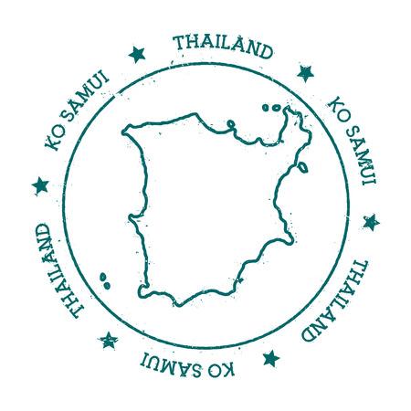 Mapa wektorowa Ko Samui. Distressed pieczęć podróży z tekstem owiniętym wokół koła i gwiazd. Wyspa naklejki ilustracji wektorowych.