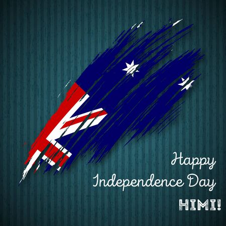 HIMI Independence Day Patriotic Design. Expressive Brush Stroke in National Flag Colors on dark striped background. Happy Independence Day HIMI Vector Greeting Card. Banco de Imagens - 79190722