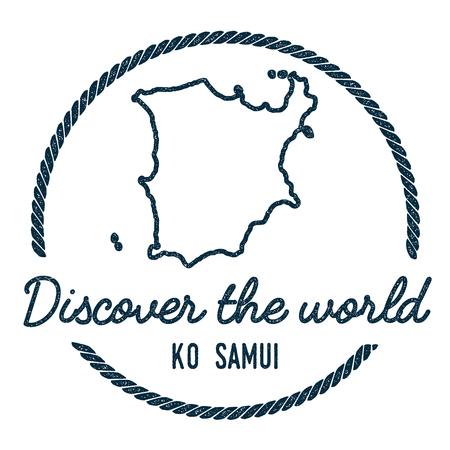 samui: Ko Samui Map Outline. Vintage Discover the World Rubber Stamp with Island Map. Hipster Style Nautical Insignia, with Round Rope Border. Travel Vector Illustration.