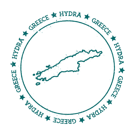 Hydra vector map. Distressed travel stamp with text wrapped around a circle and stars. Island sticker vector illustration.