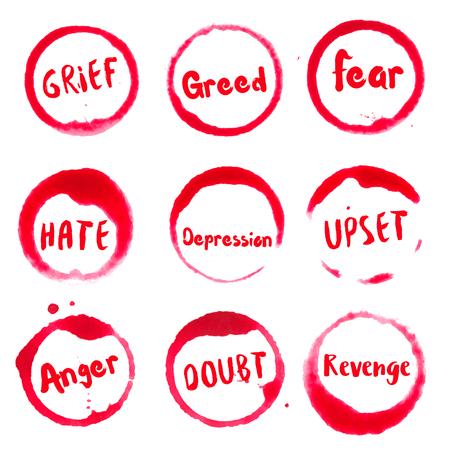 Coleção de pensamentos negativos de manchas redondas de aguarela com tristeza, vergonha, culpa, desespero, ciúme, frustração, raiva, inveja, texto de loucura.