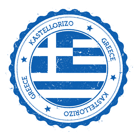 Kastellorizo flag badge. Vintage travel stamp with circular text, stars and island flag inside it. Vector illustration.