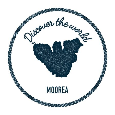 oceania: Moorea map in vintage discover the world insignia. Hipster style nautical postage stamp, with round rope border. Vector illustration.