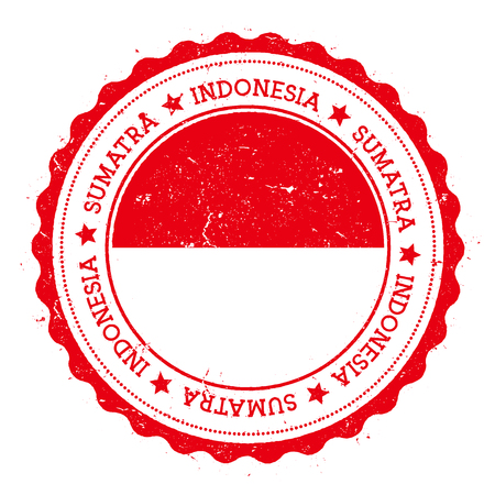 Sumatra flag badge. Vintage travel stamp with circular text, stars and island flag inside it. Vector illustration. Illustration