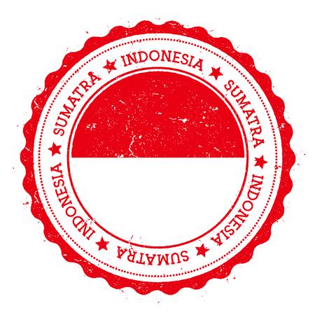 Sumatra flag badge. Vintage travel stamp with circular text, stars and island flag inside it. Vector illustration. Stock Illustratie