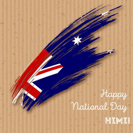 HIMI Independence Day Patriotic Design. Expressive Brush Stroke in National Flag Colors on kraft paper background. Happy Independence Day HIMI Vector Greeting Card. Ilustração