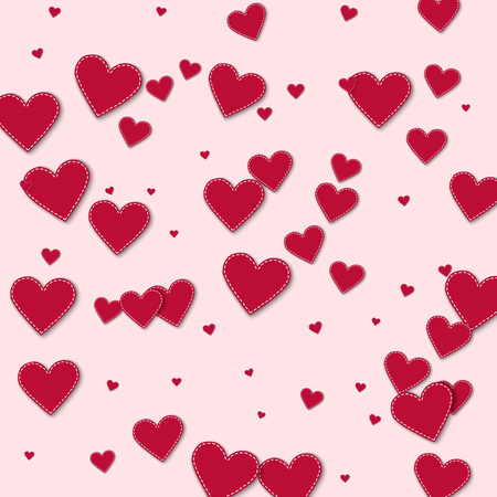 Red stitched paper hearts. Chaotic scatter lines with red stitched paper hearts on light pink background. Vector illustration. Illustration