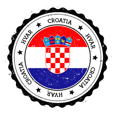 Hvar flag badge. Vintage travel stamp with circular text, stars and island flag inside it. Vector illustration.