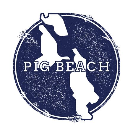 Pig Beach vector map. Grunge rubber stamp with the name and map of island, vector illustration. Can be used as insignia, logotype, label, sticker or badge.