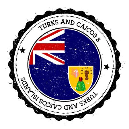 streamers: Turks and Caicos Islands flag badge. Vintage travel stamp with circular text, stars and island flag inside it. Vector illustration. Illustration