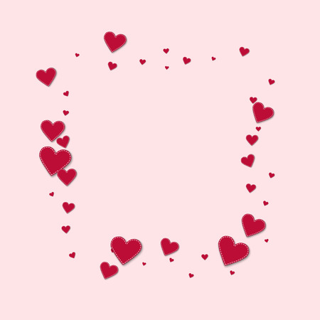Red stitched paper hearts. Square abstract mess on light pink background. Vector illustration. Illustration