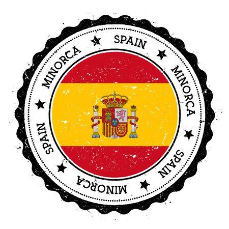 Minorca flag badge. Vintage travel stamp with circular text, stars and island flag inside it. Vector illustration. Illustration