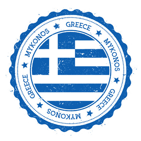 Mykonos flag badge. Vintage travel stamp with circular text, stars and island flag inside it. Vector illustration.