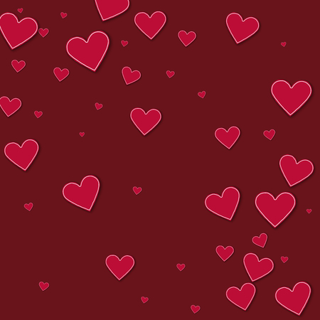 Cutout red paper hearts. Abstract scattered pattern on wine red background. Vector illustration.