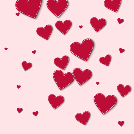 Red stitched paper hearts. Chaotic scatter lines on light pink background. Vector illustration.