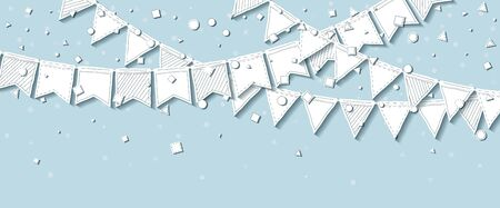 streamers: Party flags. Beautiful celebration card with white stitched cutout paper party flags and confetti on blue background. Party background with paper decorations. Vector illustration.