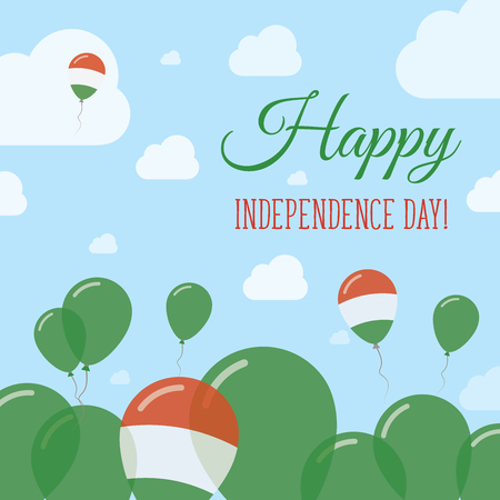 independency: Hungary Independence Day Flat Patriotic Design. Hungarian Flag Balloons. Happy National Day Vector Card. Illustration