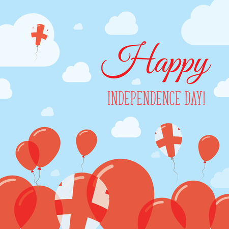 Georgia Independence Day Flat Patriotic Design. Georgian Flag Balloons. Happy National Day Vector Card. Ilustração
