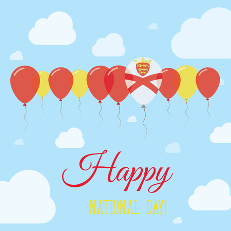 Jersey National Day Flat Patriotic Poster. Row of Balloons in Colors of the Channel Islander flag. Happy National Day Card with Flags, Balloons, Clouds and Sky.
