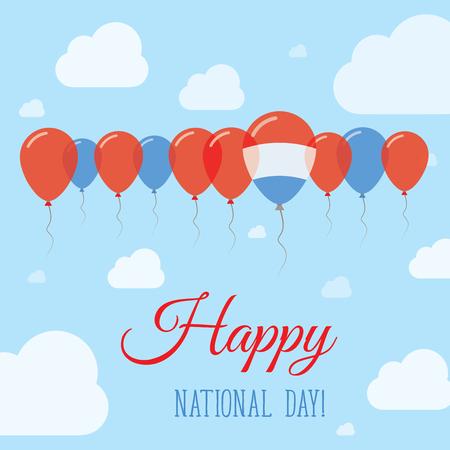 Nationale feestdag van Luxemburg vlak Patriottisch Poster. Rij van ballonnen in de kleuren van de vlag van Luxemburg. Gelukkige Nationale Dagkaart met Vlaggen, Ballons, Wolken en Hemel.
