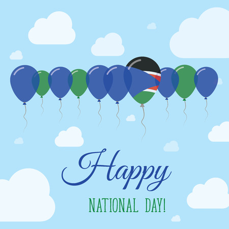 South Sudan National Day Flat Patriotic Poster. Row of Balloons in Colors of the South Sudanese flag. Happy National Day Card with Flags, Balloons, Clouds and Sky.