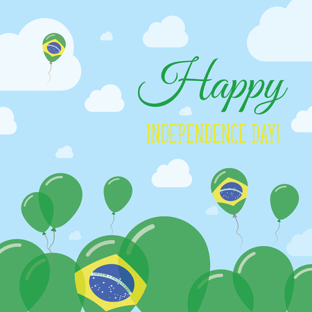 Brazil Independence Day Flat Patriotic Design. Brazilian Flag Balloons. Happy National Day Vector Card.