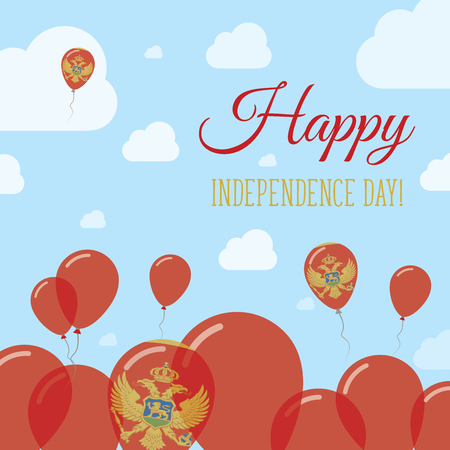 streamers: Montenegro Independence Day Flat Patriotic Design. Montenegrin Flag Balloons. Happy National Day Vector Card.