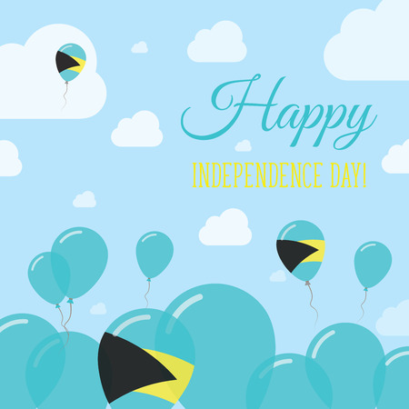 Bahamas Independence Day Flat Patriotic Design. Bahamian Flag Balloons. Happy National Day Vector Card. Illustration
