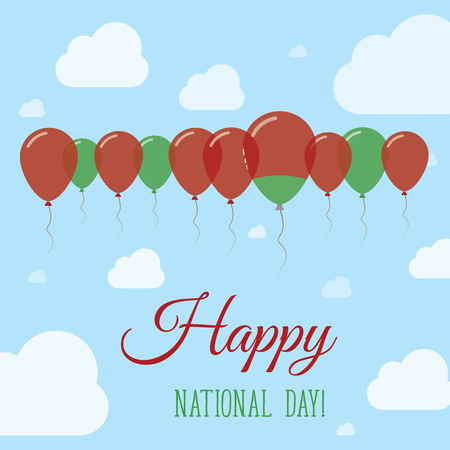 Belarus National Day Flat Patriotic Poster. Row of Balloons in Colors of the Belarusian flag. Happy National Day Card with Flags, Balloons, Clouds and Sky.