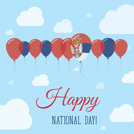 Serbia National Day Flat Patriotic Poster. Row of Balloons in Colors of the Serbian flag. Happy National Day Card with Flags, Balloons, Clouds and Sky.