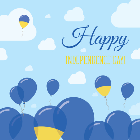 rite: Ukraine Independence Day Flat Patriotic Design. Ukrainian Flag Balloons. Happy National Day Vector Card.