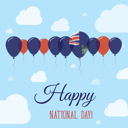 Pitcairn National Day Flat Patriotic Poster. Row of Balloons in Colors of the Pitcairn Islander flag. Happy National Day Card with Flags, Balloons, Clouds and Sky. Illustration