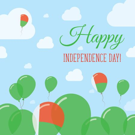 streamers: Madagascar Independence Day Flat Patriotic Design. Malagasy Flag Balloons. Happy National Day Vector Card.