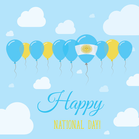 Argentina National Day Flat Patriotic Poster. Row of Balloons in Colors of the Argentinean flag. Happy National Day Card with Flags, Balloons, Clouds and Sky. Illustration