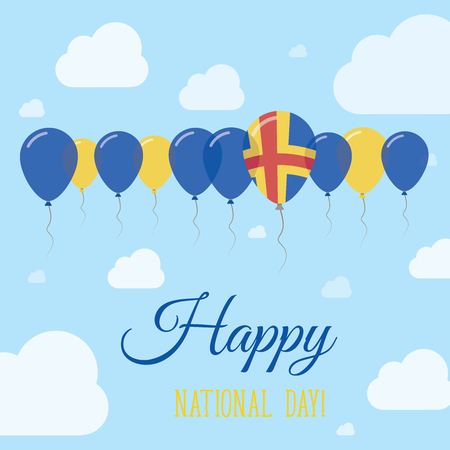 independency: Aland Islands National Day Flat Patriotic Poster. Row of Balloons in Colors of the Swedish flag. Happy National Day Card with Flags, Balloons, Clouds and Sky. Illustration