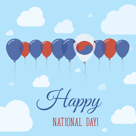 Korea, Republic of National Day Flat Patriotic Poster. Row of Balloons in Colors of the South Korean flag. Happy National Day Card with Flags, Balloons, Clouds and Sky.