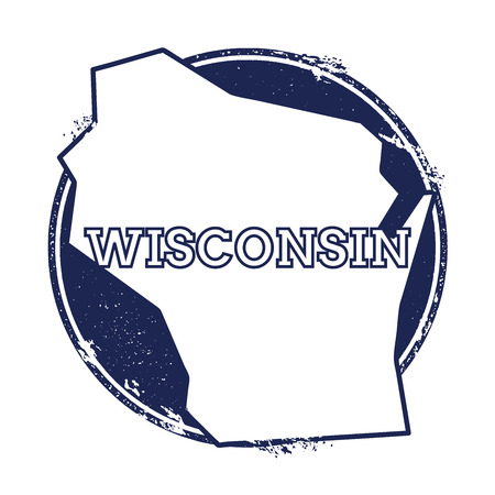 Wisconsin vector map. Grunge rubber stamp with the name and map of Wisconsin, vector illustration. Can be used as insignia, logotype, label, sticker or badge of USA state.