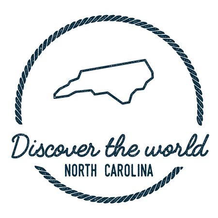 North Carolina Map Outline. Vintage Discover the World Rubber Stamp with North Carolina Map. Hipster Style Nautical Rubber Stamp, with Round Rope Border. USA State Map Vector Illustration. Vettoriali