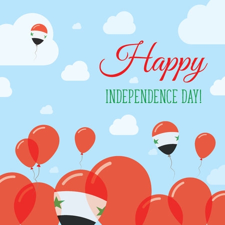Syrian Arab Republic Independence Day Flat Patriotic Design. Syrian Flag Balloons. Happy National Day Vector Card. Illustration